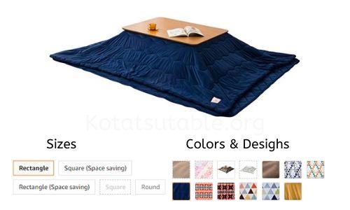 EMOOR Microfiber Kotatsu Futon Set (Comforter & Rug), Round-Type, Brown